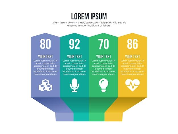Cztery w górę element infographic i szablon prezentacji
