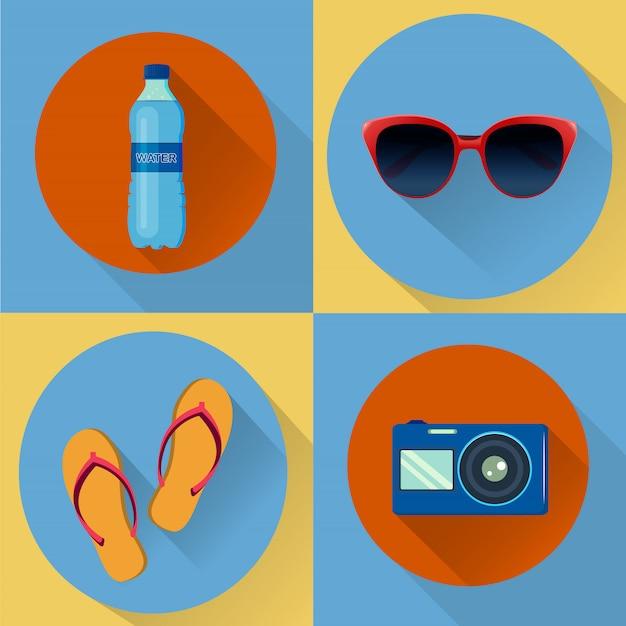 Cztery wektorowe ikony wakacje.