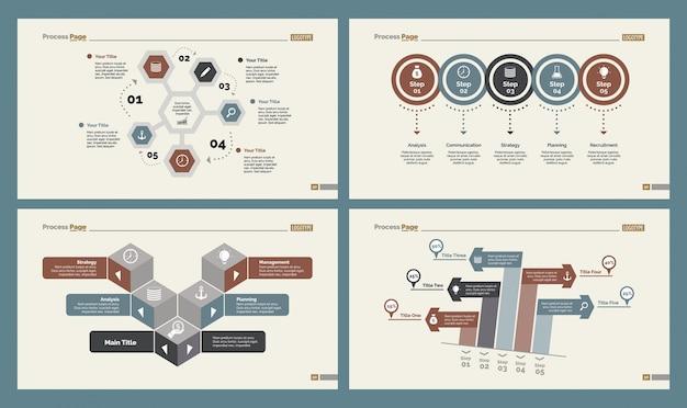 Cztery wykresy logistyczne zestaw szablonów slajdów