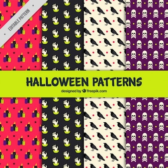 Cztery wzory straszny halloween