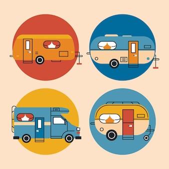 Cztery zestawy pojazdów rekreacyjnych