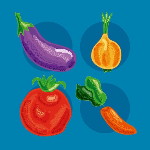Cztery zestawy zdrowej żywności