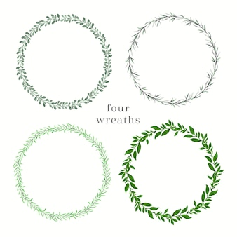 Cztery zielone wianki akwarela