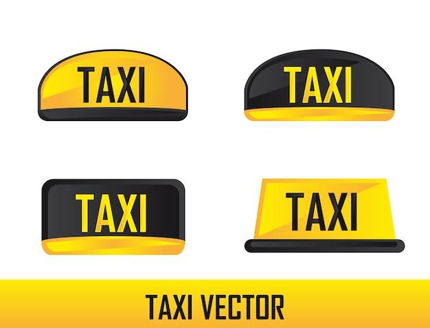 Cztery znak taxi samodzielnie na białym tle wektor