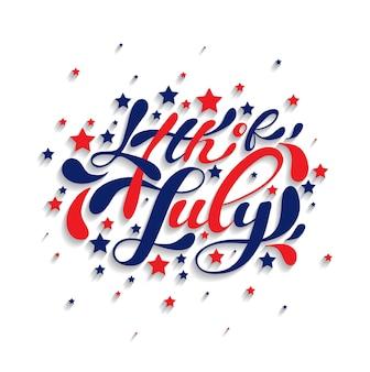 Czwartego lipca ręcznie rysowane napis. idealne na kartki okolicznościowe, banery i inne. szczęśliwy dzień niepodległości stanów zjednoczonych ameryki. kaligrafia wektor.