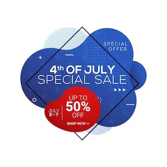 Czwartego lipca usa dzień niepodległości transparent sprzedaży