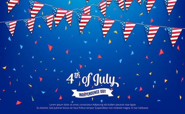 Czwarty lipca. banner wakacje. dzień niepodległości usa