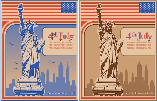 Czwarty lipca dzień niepodległości usa, statua wolności, wakacje, ilustracja