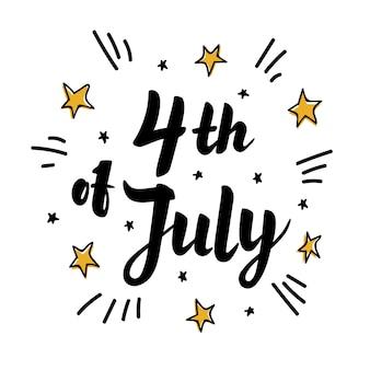 Czwarty lipca papieru napis na białym tle z gwiazd i chmur.