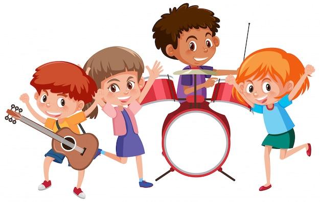 Czworo dzieci grających muzykę w zespole