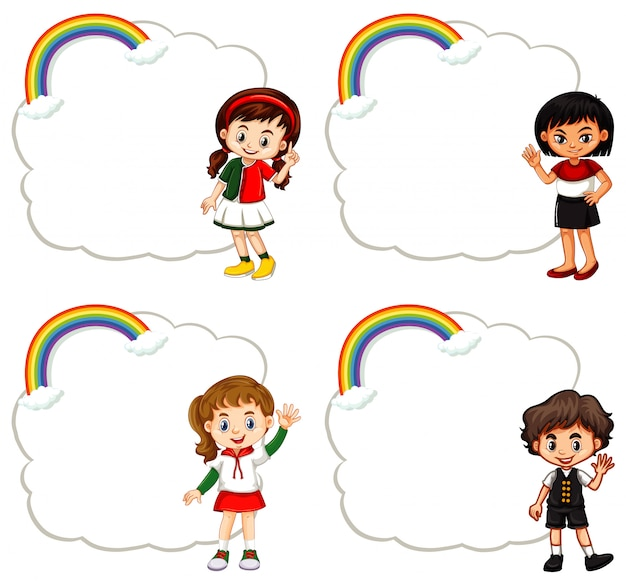 Czworo dzieci i ramki w chmurze