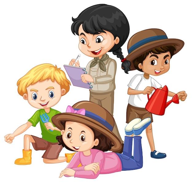 Czworo dzieci w różnych strojach