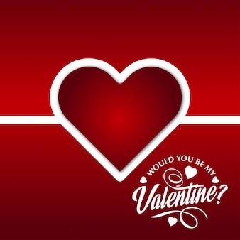 Czy byłbyś moją walentynką z czerwonym tłem i sercem?