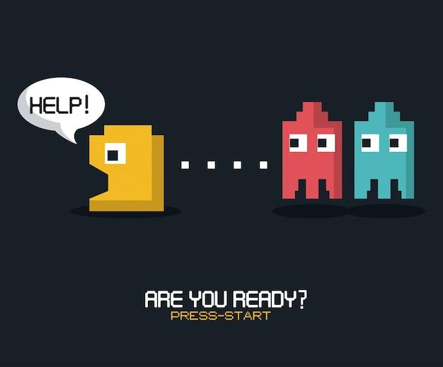 Czy jesteś gotowy, naciśnij start z grafiką gry pacman