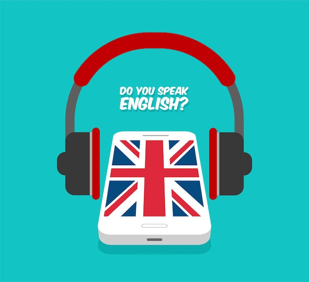 Czy mówisz po angielsku? nauka online. smartphone ze słuchawkami widok z przodu. flaga wielkiej brytanii na wyświetlaczu telefonu.