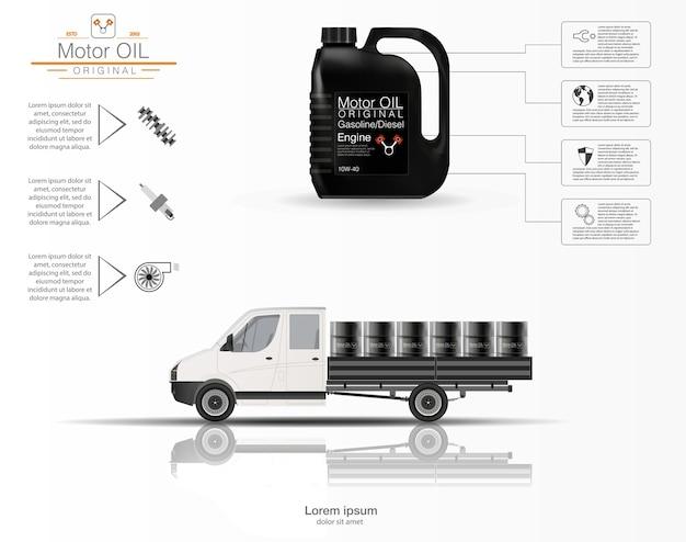 Czy olej silnikowy. infografiki oleju silnikowego. trójwymiarowy model ciężarówki na białym tle.