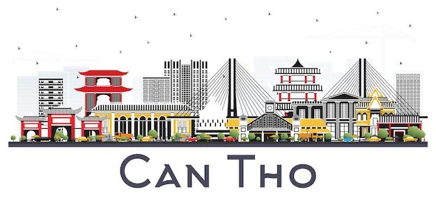 Czy tho vietnam city skyline z szarymi budynkami na białym tle. ilustracja wektorowa. podróże służbowe i koncepcja turystyki z zabytkową architekturą. czy tho gród z zabytkami.