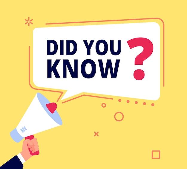 Czy wiedziałeś. innowacyjne fakty, baner pytań lub pomysł na quiz. zabawa dymek, marketing i promocja, sprzedaż. koncepcja myślenia wektorowego. ilustracja banner pytanie, dyskusja bąbelkowa lub rada