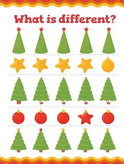 Czym są różne gry edukacyjne dla małych dzieci. świąteczny arkusz roboczy dla dzieci w wieku przedszkolnym lub przedszkolnym.