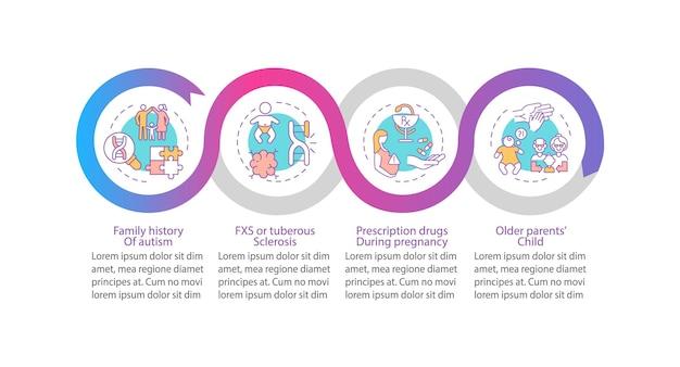 Czynniki ryzyka asd wektor infographic szablon. elementy projektu zarys prezentacji dziedziczenia. wizualizacja danych w 4 krokach. wykres informacyjny osi czasu procesu. układ przepływu pracy z ikonami linii