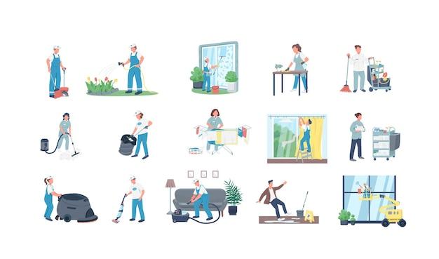 Czyści zestaw znaków bez twarzy w kolorze płaskim. profesjonalne sprzątanie. pracownicy służby porządkowej izolowali kolekcję ilustracji kreskówek do projektowania grafiki internetowej i animacji
