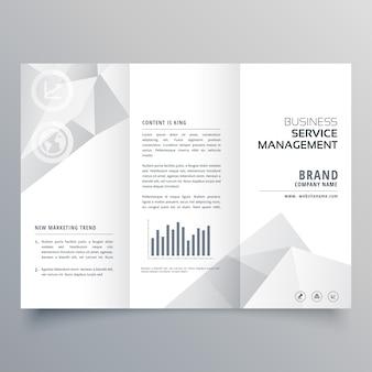 Czysta, biała trójwarstwowa broszura z abstrakcyjnymi kształtami