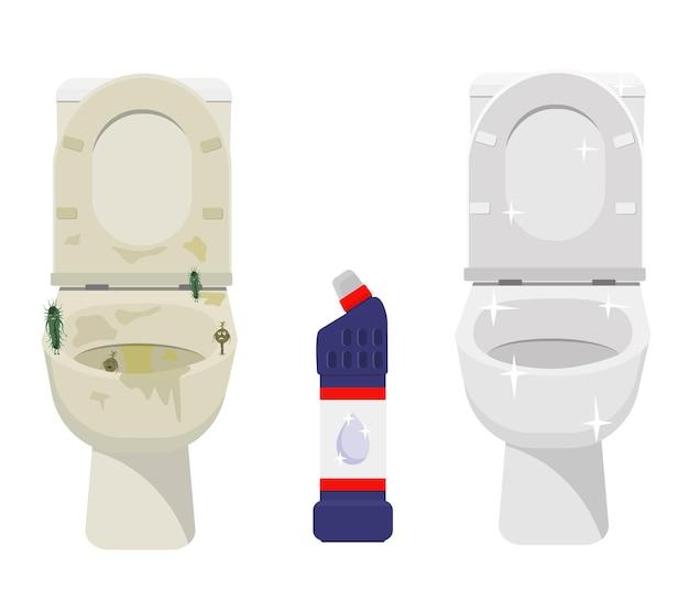 Czysta, błyszcząca i brudna ceramiczna muszla klozetowa, środek czyszczący. czyszczenie i dezynfekcja.