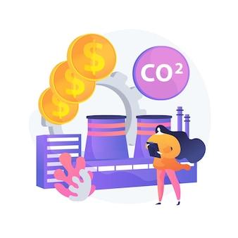 Czysta gospodarka. obiekt przyjazny dla środowiska. zużywanie co2 przez fabrykę. zmniejsz zanieczyszczenie, chroń środowisko, bezpieczna produkcja. zużycie dwutlenku węgla. ilustracja wektorowa na białym tle koncepcja metafora.