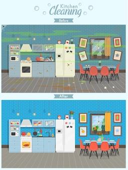 Czysta i brudna kuchnia ze stołem, lodówką, kuchenką, kredensem naczynia w nowoczesnym stylu. koncepcja dla firm sprzątających. przed i po czyszczeniu. ilustracja wektorowa płaski.