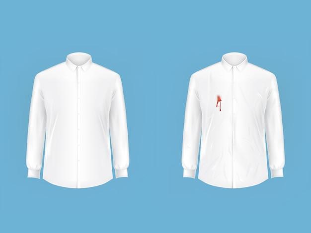 Czysta i zabrudzona koszula przed wezwaniem wektora do prania