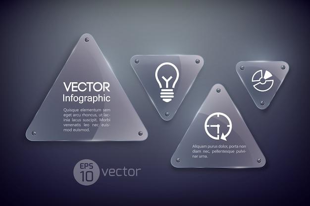 Czysta szklana rama, kształt trójkąta, szablon biznesowy infografika