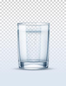 Czysta woda z bąbelkami szkła na przezroczystym tle.