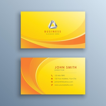 Czysta żółta wizytówka z abstrakcyjnymi falami