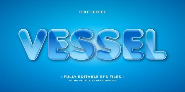 Czyste błyszczące niebieskie szkło efekt tekstowy na białym tle edytowalny wektor eps cc