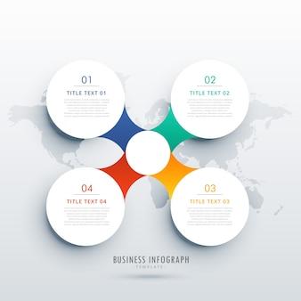 Czyste cztery kroki projektowanie szablonów infograficznych dla układu diagramu przepływu pracy firmy