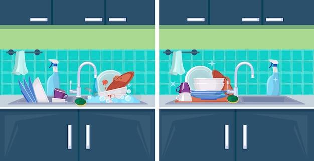 Czyste i brudne naczynie. zlew z elementami kuchennymi do mycia tła kreskówki do czyszczenia. ilustracja umyć i wyczyścić, niemyte naczynia kuchenne