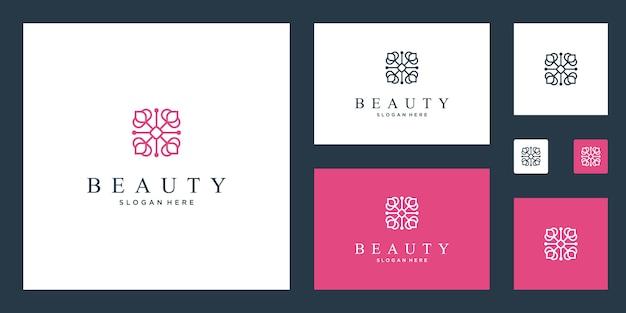 Czyste i eleganckie abstrakcyjne kwiaty inspirujące logo piękna, jogi i spa.