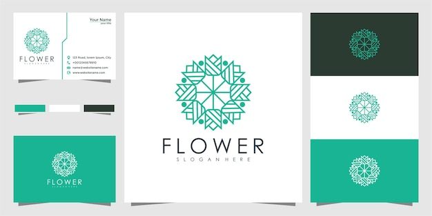Czyste i eleganckie logo abstrakcyjnych kwiatów