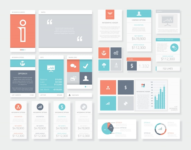 Czyste i świeże elementy interfejsu użytkownika (ui) elementów wektorowych infografiki