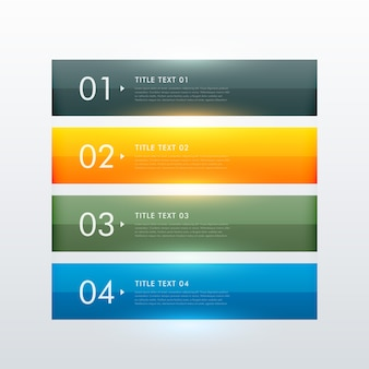 Czyste kolorowe cztery kroki biznesowe szablonu projektu infograficznego