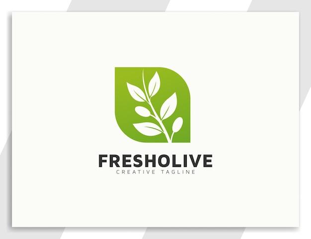 Czyste logo drzewa oliwnego z liśćmi