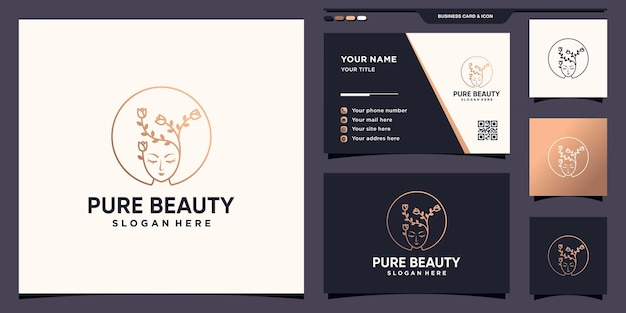 Czyste piękno twarzy kobiety logo z kwiatem w stylu liniowym i projektem wizytówek premium wektorów