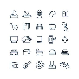 Czyste ręce i ikony linii serwetek antyseptycznych. symbole sanitarne i higieniczne