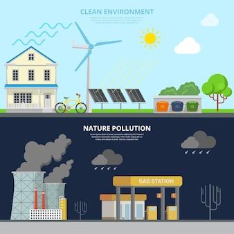 Czyste środowisko i zanieczyszczenie przyrody płaska infografika bohatera obrazu transparent ilustracja