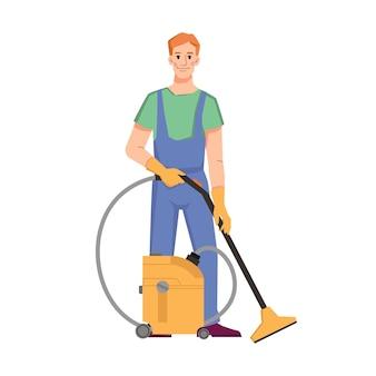 Czystszy personel odkurzający podłogi lub dywany wektor