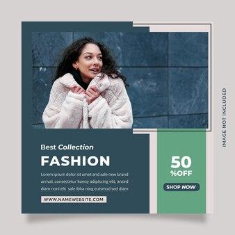 Czysty i minimalistyczny nowoczesny niebieski szablon postu w mediach społecznościowych dla promocji marki mody