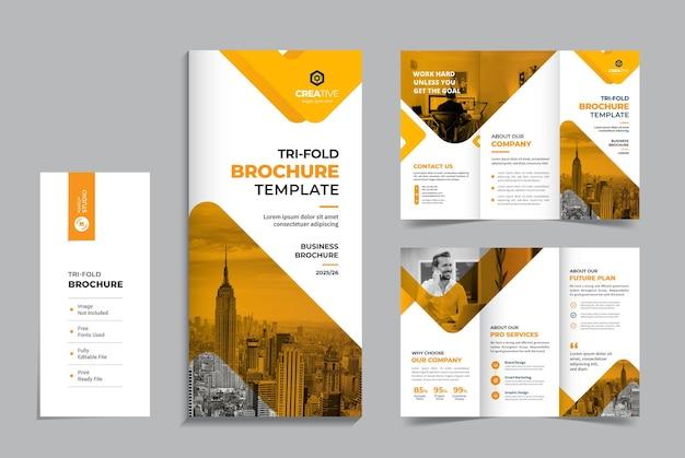 Czysty i minimalny szablon projektu broszury biznesowej trójdzielnej firmy