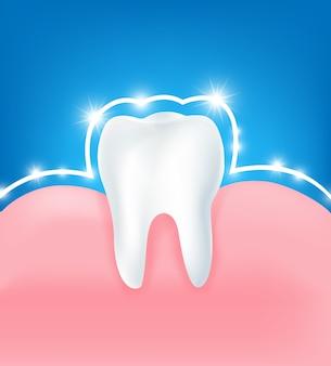 Czysty i mocny biały ząb