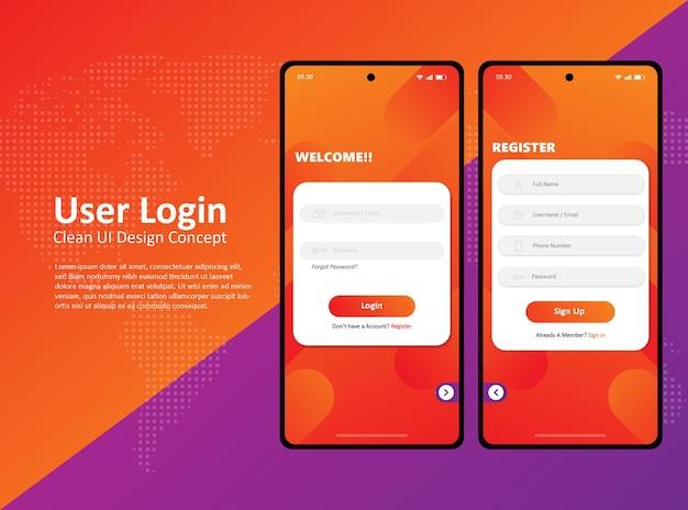 Czysty interfejs użytkownika smartfona projekt strony logowania do aplikacji premium vector