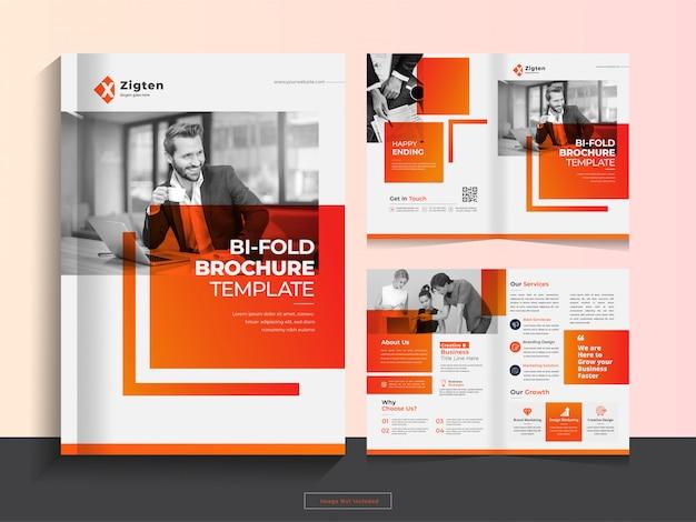 Czysty korporacyjny bi-krotnie szablon broszury biznesowej w formacie a4.